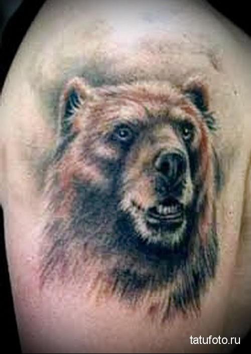 тату медведь славянская - голова на плече мужчины