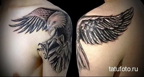 тату орел на плече 1