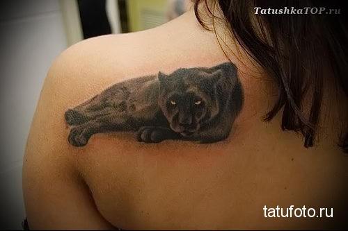 тату пантера которая лежит на боку