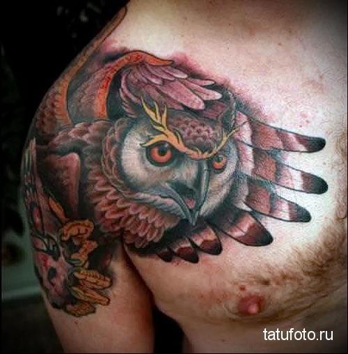 тату сова на плече 1