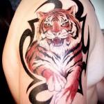 Тату тигра на плече на трайбл узоре