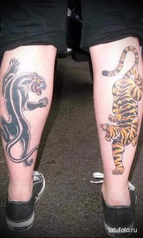 тату тигр на ноге и пантера