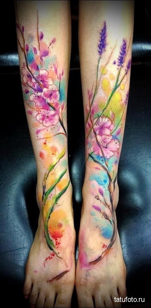цветы на две ноги - тату акварель фото