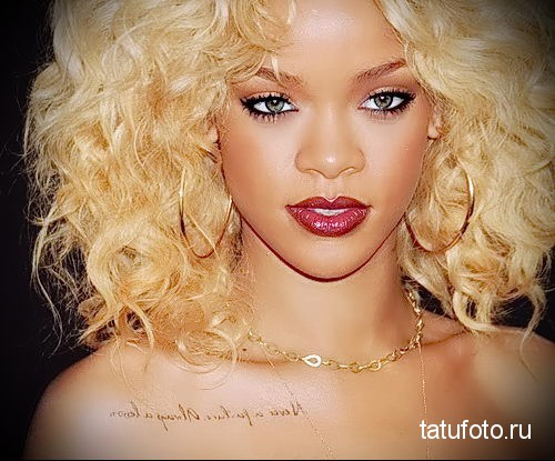 Rihanna tattoo on her collarbone 2