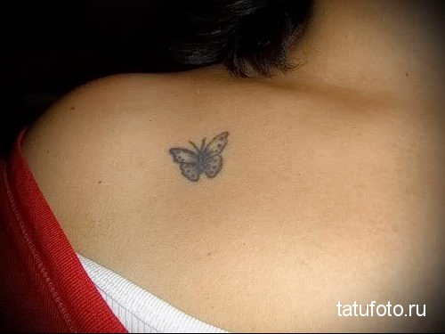 butterfly tattoo on her collarbone 3