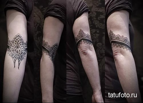 dotvork tattoo on his arm 4