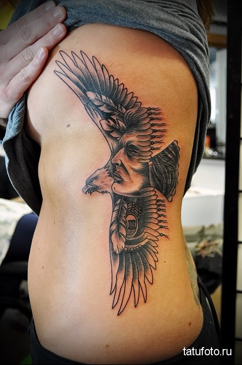 eagle tattoo on his side 1