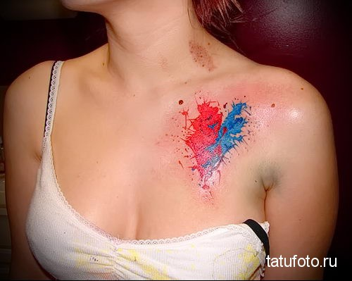 heart tattoo on her collarbone 3