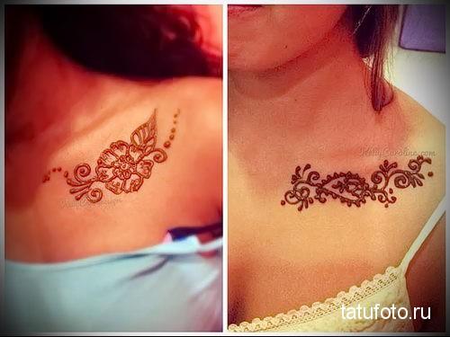 henna tattoo on her collarbone 2