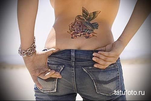 hummingbird tattoo on her back 1