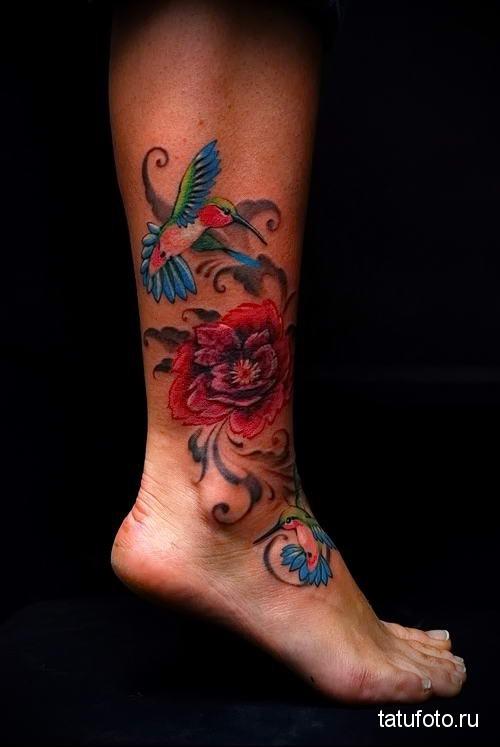 hummingbird tattoo on his leg 2