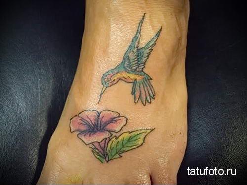 hummingbird tattoo on his leg 3
