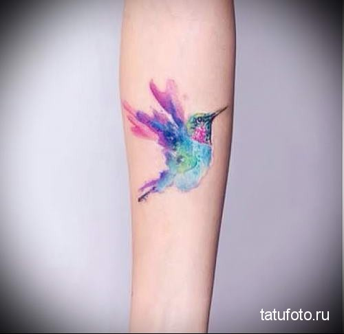 hummingbird tattoo watercolor 2