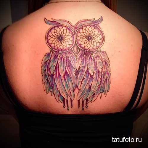 owl and Dreamcatcher Tattoo 1