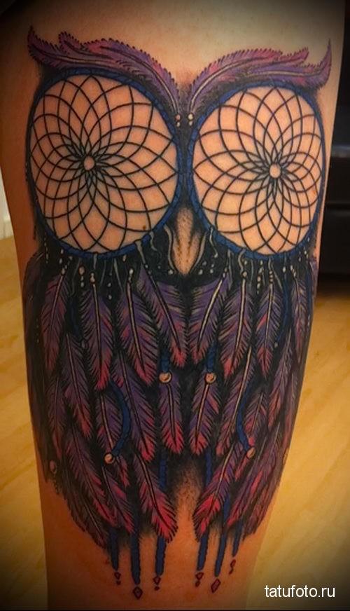 owl and Dreamcatcher Tattoo 2