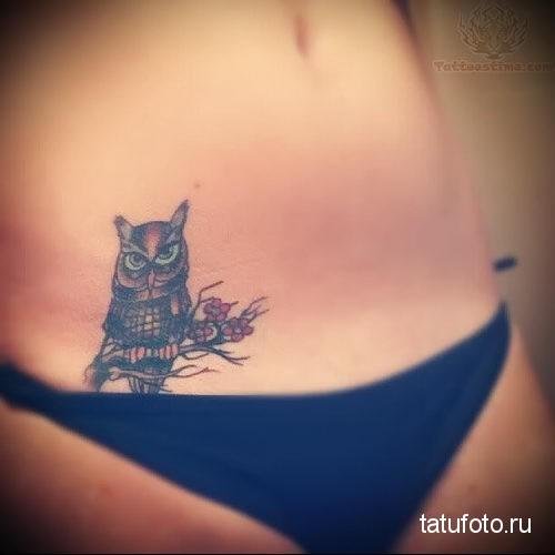 owl on hip tattoo 2