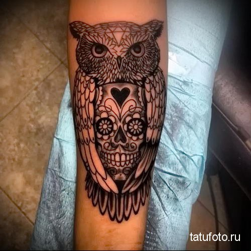 owl skull tattoo 1