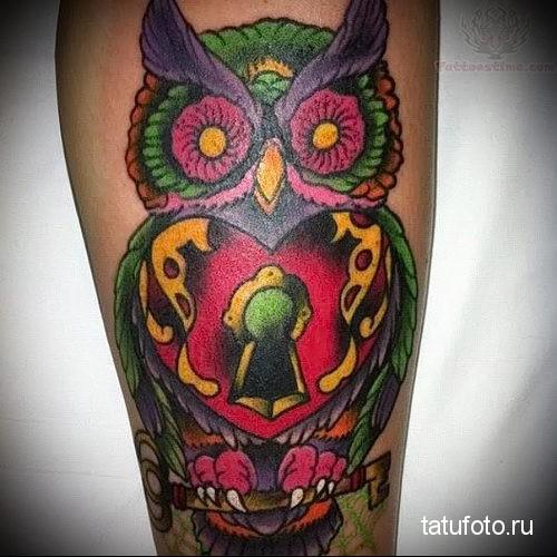 owl tattoo color 2