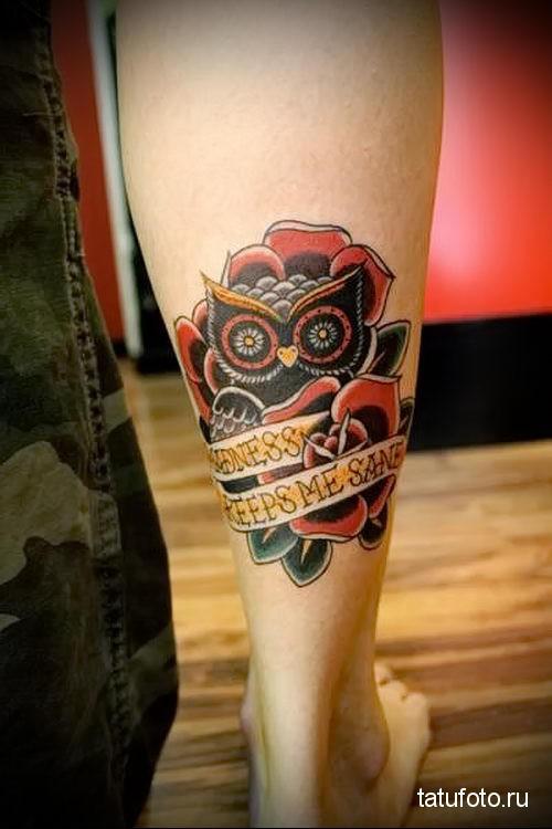 owl tattoo on calf 1