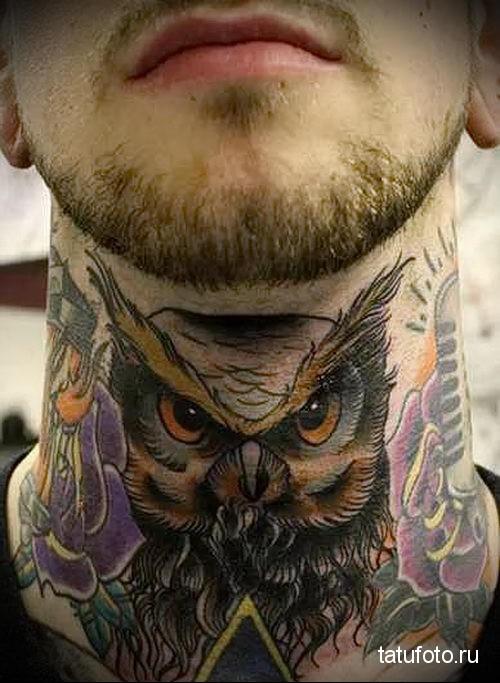owl tattoo on his neck 1