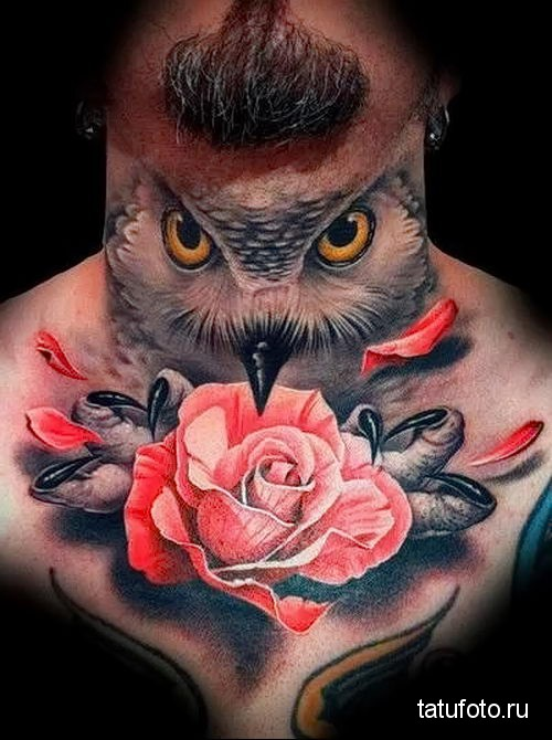 owl tattoo on his neck 2