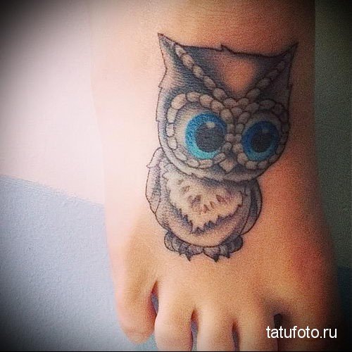 owl tattoo on the foot Photo 1