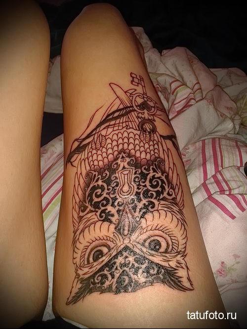 owl tattoo on thigh 1