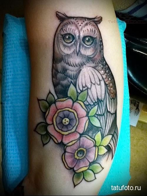 owl tattoo with flowers 2