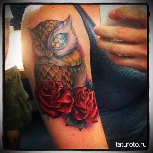 owl tattoo with roses 1