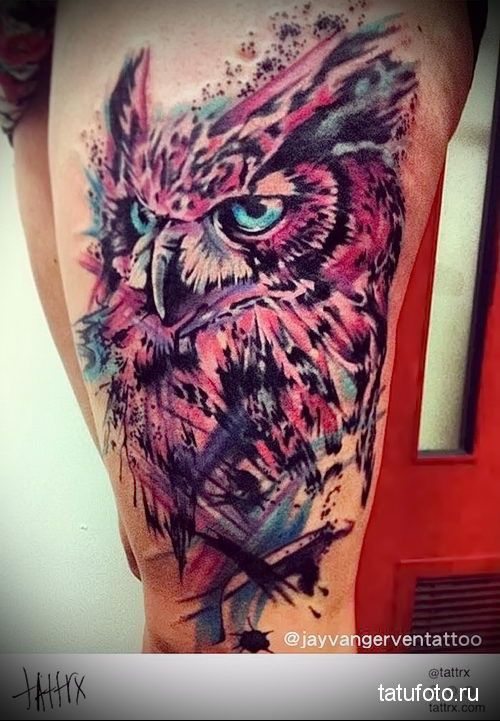 owl watercolor tattoo 1