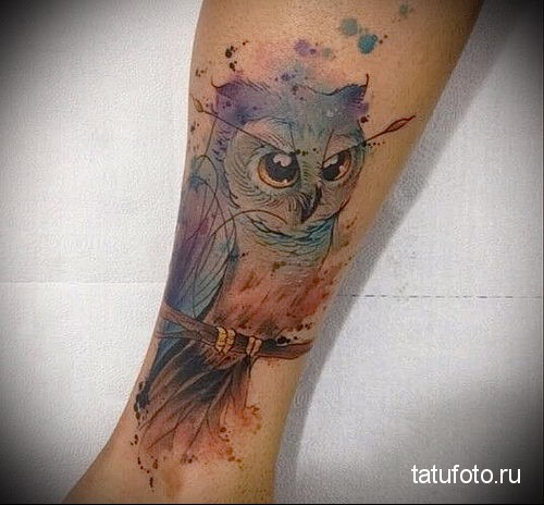 owl watercolor tattoo 2