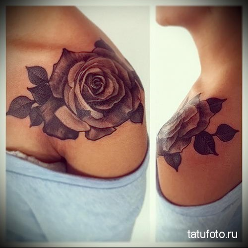 rose tattoo on her collarbone 2