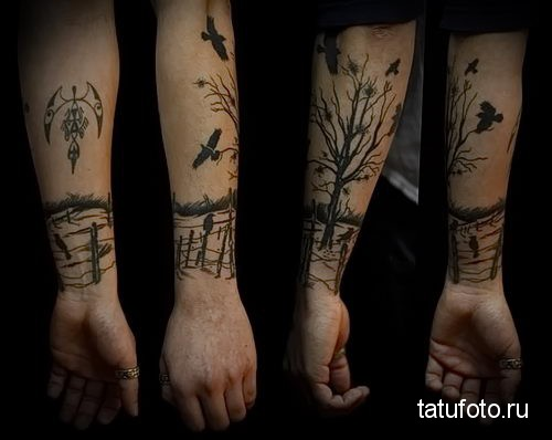 tattoo on his forearm forest 3
