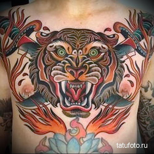 tiger tattoo on his chest 1