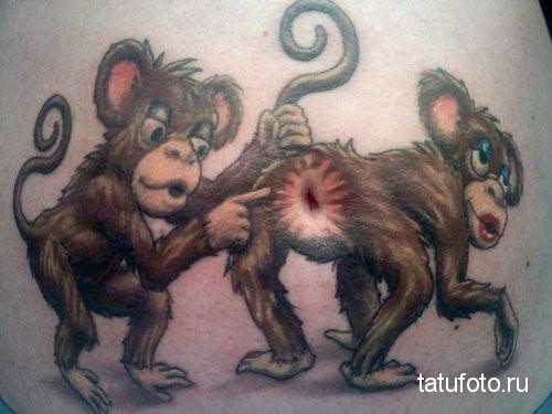 Тату обезьяна - прикол