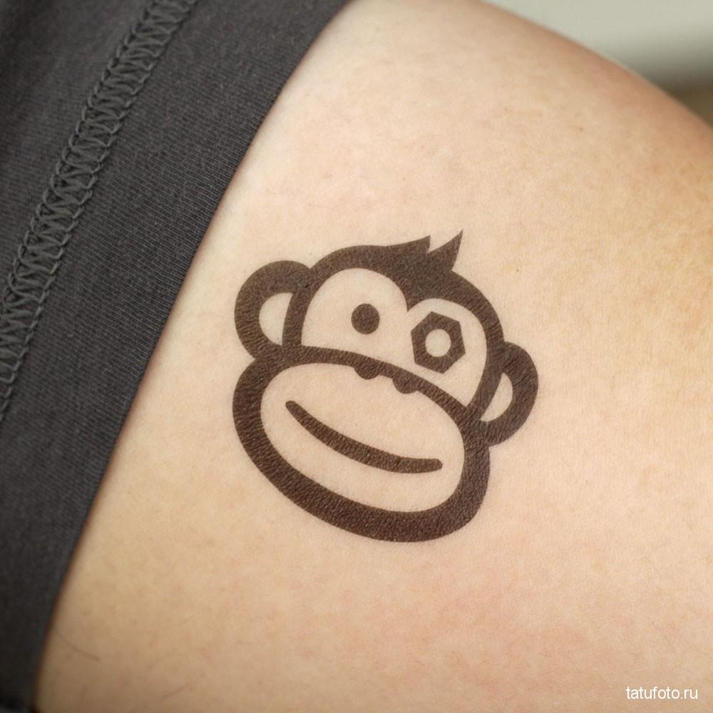 Тату обезьяна - простой рисунок контуром