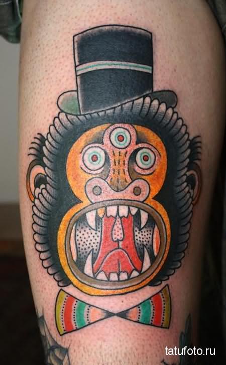 Тату обезьяна  с тремя глазами - олд скул стиль