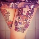 Тату олень для девушки на переднюю часть ноги - область под юбкой