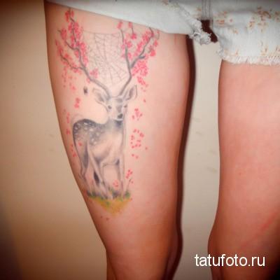 Тату олень на ногу для женщины с рогами в цветах