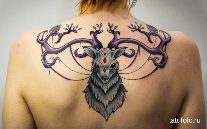 Тату олень с необычными рогами на спине девушки