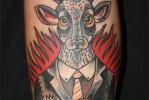 Тату олень с черепом и крест