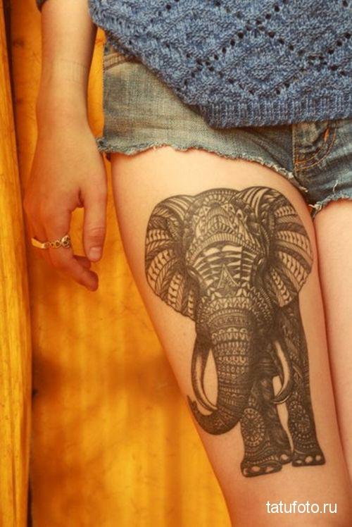 Тату слона на ноге для девушки - рисунок большой выше колена