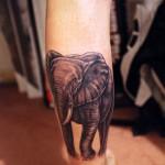 Тату слона с бивнями на икре для мужчины