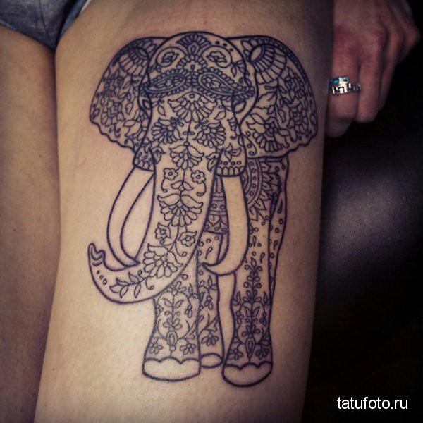 Тату слон в росписи на ногеТату слон в росписи на ноге
