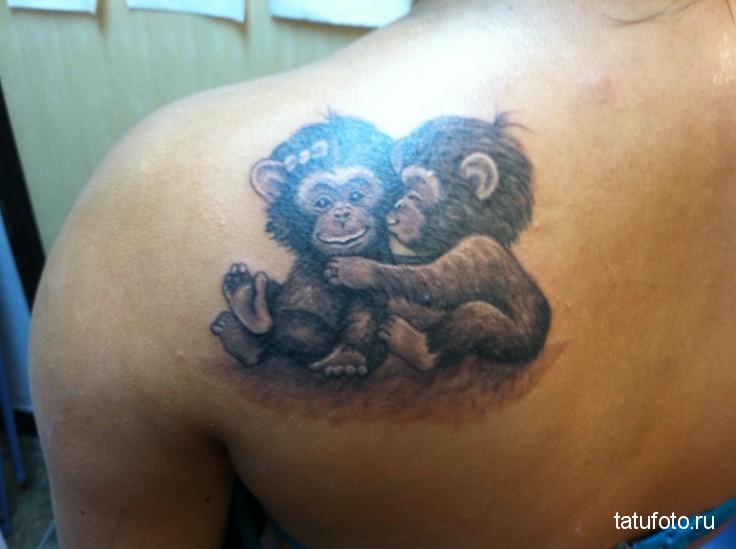 Тату обезьяна - 2 маленьких существа