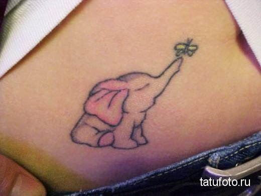 Тату слона в интимном месте у девушки