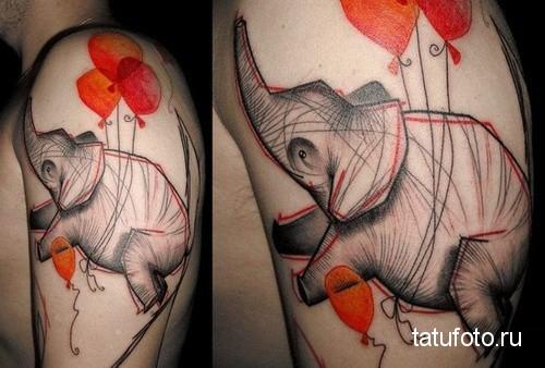 Тату слона который привязан к воздушным шарикам