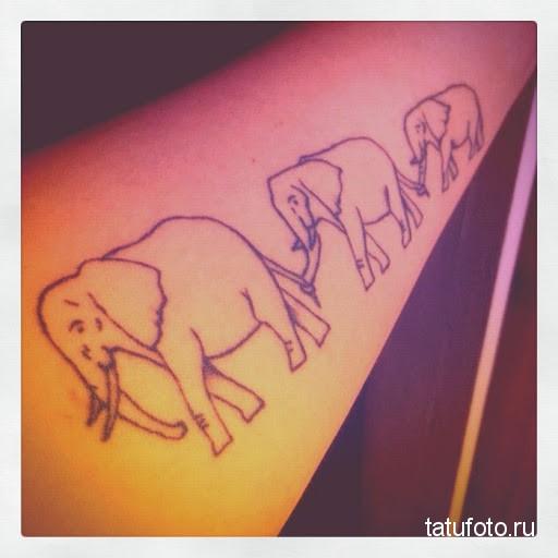 Тату слоны идут цепочкой
