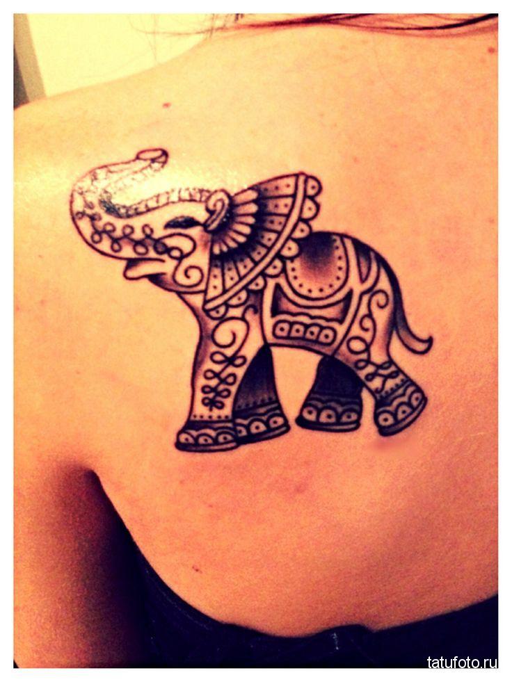 Тату слон женская на лопатке