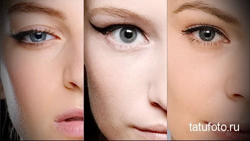 татуаж глаз стрелки с растушевкой фото 1